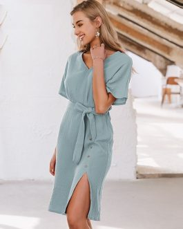 Casual Sash Button Robe Slit Solid Beach Dress