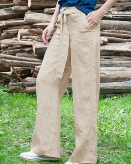 Causal Loose Solid Color Elastic Waist Wide Leg Pants