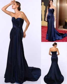 Celebrity Dresses Satin Ruched Sweetheart Neck Evening Dress Inspired By Sandra Bullock At Oscar