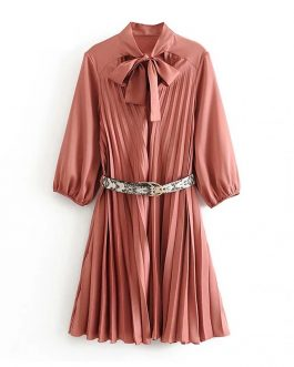 Chic Pleated Stylish Mini Dresses With Snake Belt