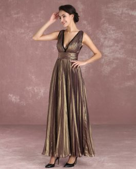 Chiffon Celebrity Dress V Neck Pleated Floor Length Evening Dress Inspired By Charlize Theron At Oscar