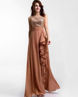 Chiffon Evening Dress Sequin Bridesmaid Dress Sleeveless Ruffle Pleated Floor Length Party Dress
