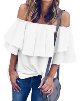 Cold Shoulder Top Ruffle Oversized Bardot Tops