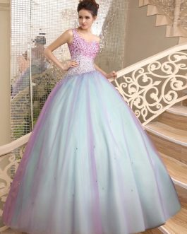 Color Block Floor-Length Beading Ball Quinceanera Dress