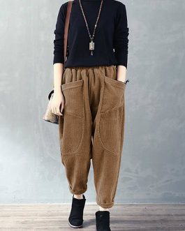 Corduroy Elastic Waist Loose Causal Pocket Pants