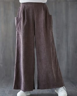 Corduroy Elastic Waist Wide Leg Solid Pants