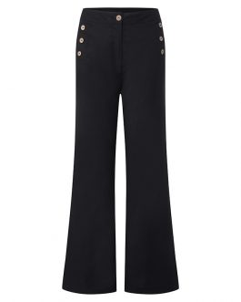 Cotton High Waist Pants Button Casual Wide Leg Trousers