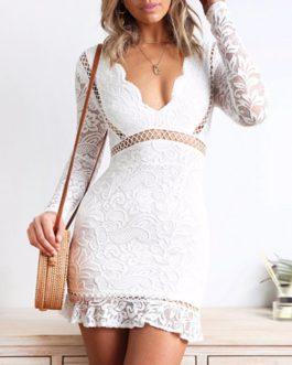 Deep V-neck Backless Ruffle Bodycon Mini Party Dress