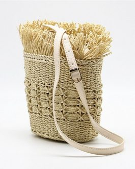 Designer Knitting Tassel Straw Beach Shoulder Bag