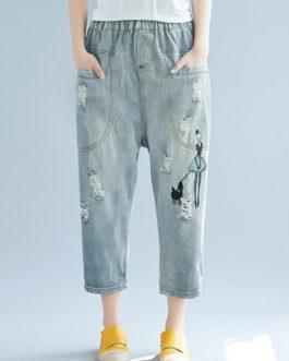 Drop Crotch Holes Loose Casual Jeans Capris