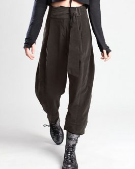 Elastic High Waist Harem Long Trousers Casual Loose Pants