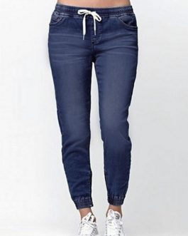Elastic Waist Ankle Tightening Denim Trousers Casual Pants