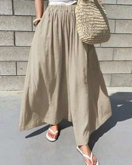 Elastic Waist Cotton Loose Wide Leg Pants with Pockets