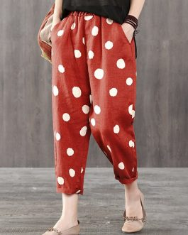 Elastic Waist Polka Dot Side Pockets Harem Pants