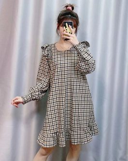 Elegant Fashion Plaid Print Loose Mini Dress