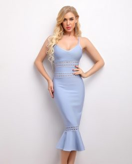 Elegant Mermaid Sleeveless Elastic Bandage Bodycon Dress