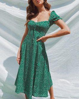 Elegant Square Collar Ruffle Vintage Midi Dresses
