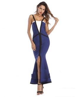 Elegant Trumpet Mermaid Floor Length Patchwork Bandage Dress