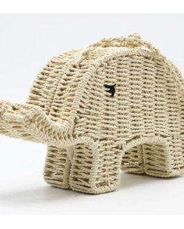 Elephant Cartoon Straw Mini Cute Casual Bag