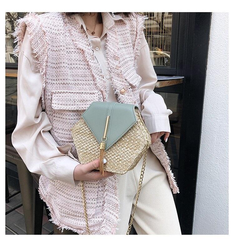 Fashion Hexagon Multi Style Handmade Woven Beach Handbags 10.1