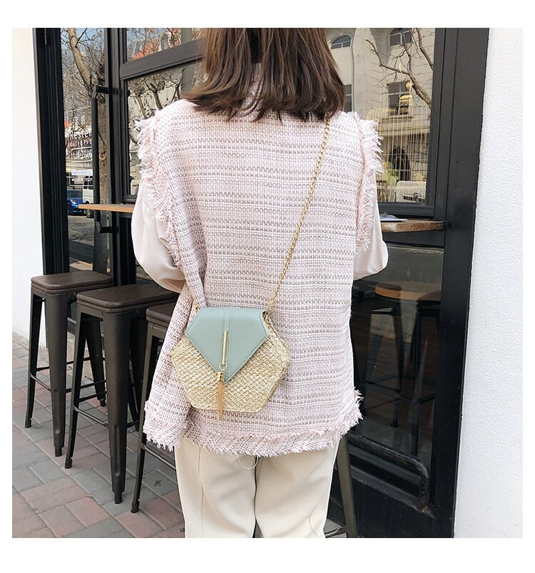 Fashion Hexagon Multi Style Handmade Woven Beach Handbags 10.2