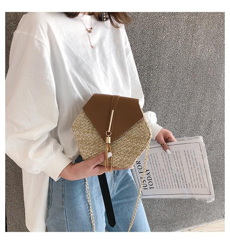 Fashion Hexagon Multi Style Handmade Woven Beach Handbags 10.3