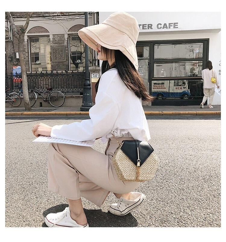 Fashion Hexagon Multi Style Handmade Woven Beach Handbags 10.4