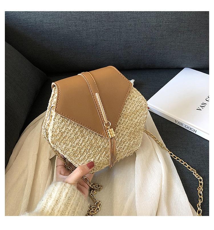 Fashion Hexagon Multi Style Handmade Woven Beach Handbags 10.5