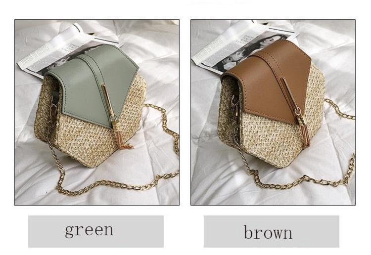 Fashion Hexagon Multi Style Handmade Woven Beach Handbags 10.6