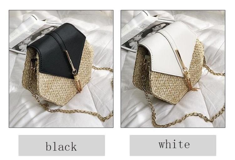 Fashion Hexagon Multi Style Handmade Woven Beach Handbags 10.7