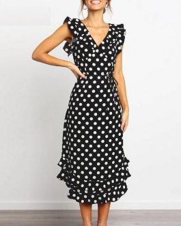 Fashion V Neck Polka Dot Casual High Waist Ruffle Party Dress