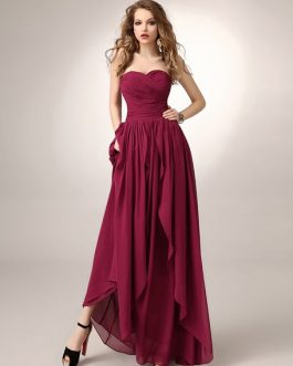 Sweetheart Neck Ruched Chiffon Bridesmaid Dress