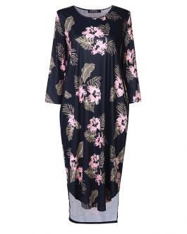 Floral Print Casual Sleeve Midi Dress with Pockets