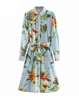 Elegant Floral Print Turn Down Collar Shirt Dress