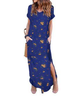 Floral Print V Neck Short Sleeves Casual Loose Long Maxi Dress