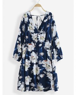 Floral Print V-neck Long Sleeve Backless Causal Dress