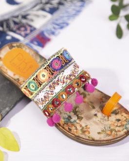 Folkways Embroidered Bohemian Beach Sandals