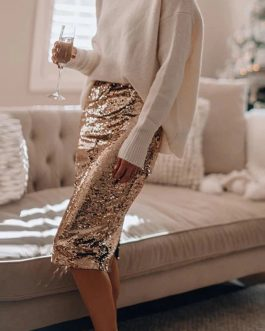 Glitter Shiny Sequin Pencil Knee Length Party Midi Skirt
