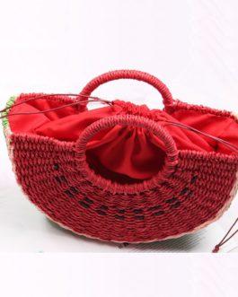 Handmade Pompom Weaving Ladies Beach Bag
