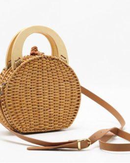 Handmade Round Straw Beach Shoulder Bags