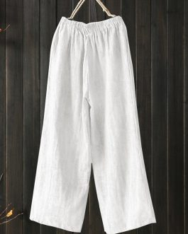 High Elastic Waist Loose Cotton Wide Leg Pants with Pockets