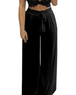 High Elastic Waist Yoga Dance Pants Wide Legs Trousers