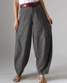 High Waist Button Solid Color Harem Pants with Pocket