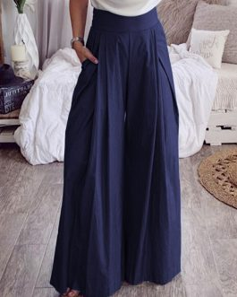 High Waist Trousers Casual Loose Wide Leg Pants with Pockets