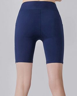 High Waist Yoga Slim Shorts With Pocket