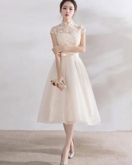 Cap Sleeve Bow Sash Illusion Organza Cocktail Dress