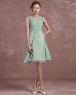 Knee Length Pleated Homecoming V Neck Sleeveless A Line Cocktail Bridesmaid Dress