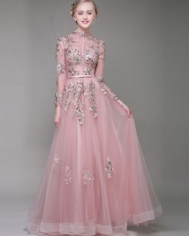 Lace Flowers Embroidered Long Sleeve Keyhole Stand Collar Buttons Beaded Floor Length Long Homecoming Dresses