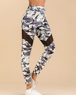 Leggings For Women Shaping Polyester Cut Out Camouflage Leggings