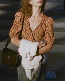 Leopard Print Ruffles Vintage Puff Sleeve Casual Shirt